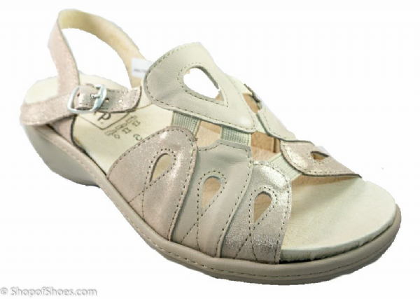 Walnut nude and gold stylish leather EE-4E sandal.